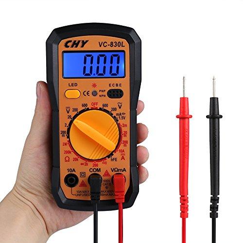 Multimètre Numérique, Vegkey Mini Multimètre Digital Testeur de Résistance Courant Tension AC/DC, Testeur de Température Voltmètre Digital Multimètre avec Ecran LCD