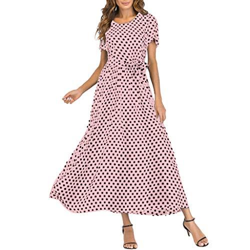 UINGKID Sommerkleid Damen, Blumen Kleid Elegant Langarm Maxikleid Floral Print Böhmischen Strand Maxi Kleid Casual - Pyjama-hose Valentines Day