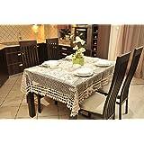 140x220 creme beige ecru cappucino karierte Tischdecke Tischdecken Tischtuch Tischtücher Häkeltischdecke rechteckig elegant praktisch pflegeleicht modern folk cream beige ecru ivory