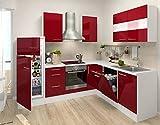 respekta Premium L-Form Winkel Küche Küchenzeile weiss rot 260x200cm Kühlkombi Ceran Umluft