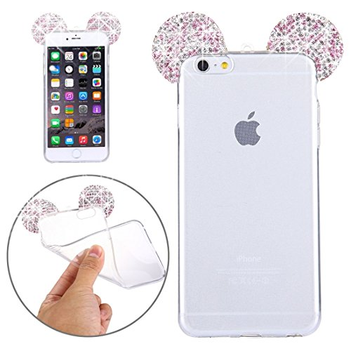 Phone case & Hülle Für iPhone 6 / 6s, Maus Ohr Diamond Pattern Transparent TPU Schutzhülle mit Lanyard ( Color : Blue ) Purple