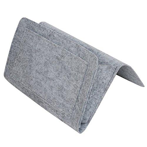 Gosear Feutre de Rangement de lit de Chevet Range-Sac Ranger avec 5 Petites Poches pour l'organisation du téléphone Tablet Magazine Petites Choses