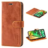 Mulbess Handyhülle für Samsung Galaxy A50 Hülle, Leder Flip Case Schutzhülle für Samsung Galaxy A50 Tasche, Cognac Braun