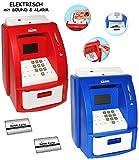 alles-meine.de GmbH 2 TLG. Set _ elektrische Spardosen -  Geldautomat  - blau + rot - mit Sound + PIN Geldkarte + Sparzähler + Alarm Funktion + Zählfunktion / stabile & digital..