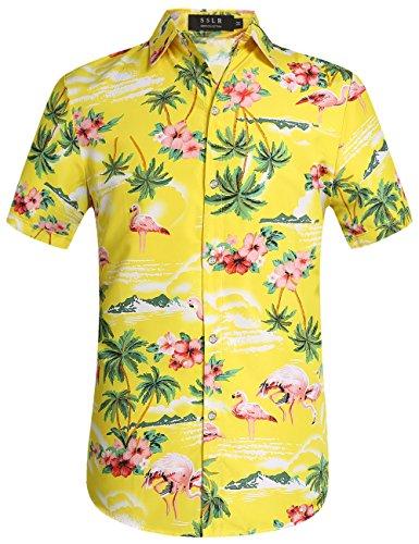 SSLR Herren Hemd Hawaiihemd Kurzarm Flamingos 3D Gedruckt Freizeithemd Button Down Aloha Shirt (Large, Gelb) (Hawaii-aloha-shirt Herren)