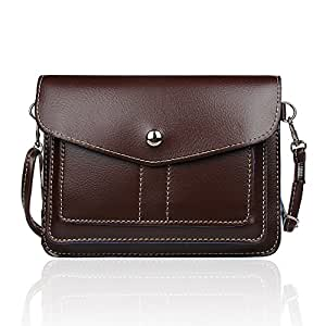 xhorizon TM ZA5 Women's Universal Multipurpose Cute Mini Elegant Classic PU Leather Transverse Crossbody Single Shoulder Bag Cellphone Pouch/Wallet/Purse with Long Shoulder Strap and Metal Button Closure For iPhone 6/6 Plus/5
