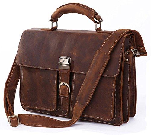 Everdoss Herren echt Leder Vintage-Look Handtasche Umhängetasche Kuriertaschen Schultertasche Aktentasche dunkel braun