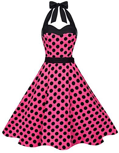 Zarlena Damen 50er Retro Rockabilly Pola Dots Petticoat Neckholder Kleid Pink mit schwarzen Dots X-Large 1630