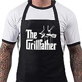 novità - Divertente grembiule da barbecue The Grillfather colore nero taglia unica, grembiuli da uomo idea regalo da cucina