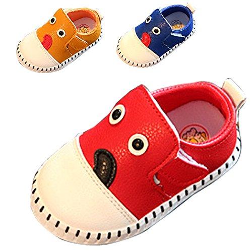 Gaorui Frühling Jungen Baby Lauflernschuhe Klettverschluss Schuhe Cartoon - Hund Muster 3 Farben Gelb Rot Blau Rot
