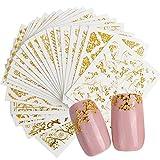 Forepin 20 Blatt 3D Nagel Sticker Nagelaufkleber Selbstklebende Abziehbilder Nagel Aufkleber Nail Art Kunstnägel Dekoration Mixed Designs (Gold)