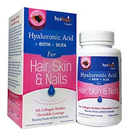 Hyalogic Hair Skin and Nails - HA Collagen Builder - Beauty From Within Formula - 30 Chewable Lozenges by Hyalogic