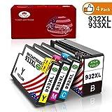 Toner Kingdom 4 Pack Kompatibel HP 932XL 933XL Tintenpatronen für HP Officejet 6100 6600 6700 7110 7610 7612 Drucker (1 Schwarz, 1 Cyan, 1 Magenta, 1 Gelb)
