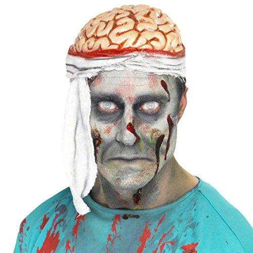 �tze weiß-rot Gehirnmütze Zombie Untoter Kostüm Zubehör Halloween Accessoire (Halloween Kostüm Zombie Da)