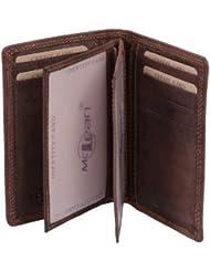 porte-cartes pour pièce d'identité et porte-cartes LEAS MCL, cuir véritable, marron - ''LEAS Basic-Vintage-Collection''