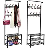 #10: House Of Quirk 18 Hooks Coat Rack With 3-Tier Shoe Rack Shelves - Metal Black