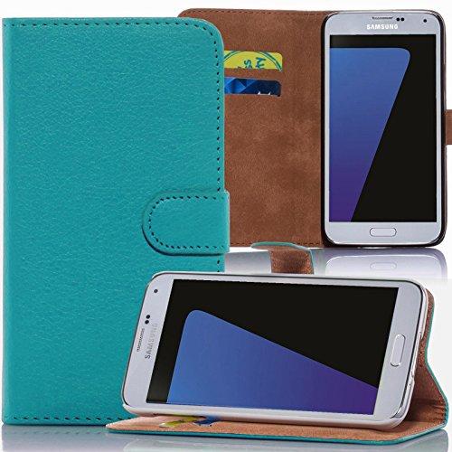 numerva HTC Desire 500 Hülle, Schutzhülle [Bookstyle Handytasche Standfunktion, Kartenfach] PU Leder Tasche für HTC Desire 500 Wallet Case [Türkis]