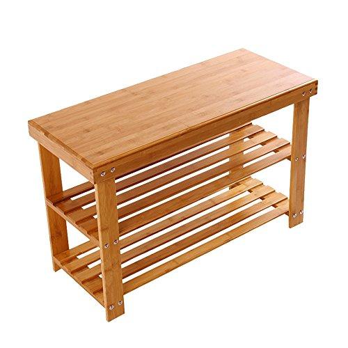 Schuhregal YNN 2 Schicht Bambus Haushalt Staubdicht Multifunktions Tür Schuhkarton Schuh Bank Regal (Größe : 70cm) (Bank Schlafzimmer Nussbaum)