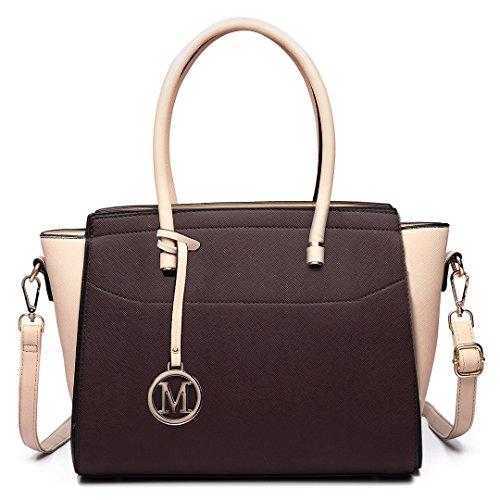 Miss Lulu Damen Klassische Handtasche Winged Schultertasche Groß Umhängetasche Taschen 6627 Kaffee und Kakifarbig