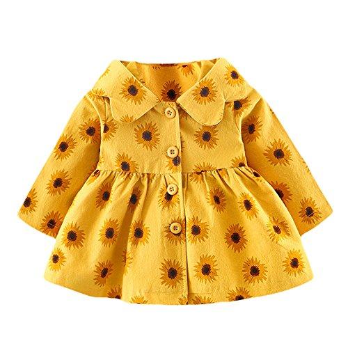 OverDose Damen 2018 Neugeborenen Baby Mädchen Cartoon Warme Prinzessin Liebhaber Print Kleid + Weste Outfits Kleidung Set(Z-Gelb,12 Monate)