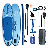 AQUAPLANET ALLROUND TEN SUP Inflatable Stand Up Paddle Board Kit | 3M | 10' Long | Adjustable Paddle | Carry Backpack | Dual-Action Pump | Ankle Safety Leash | Repair Kit | Waterproof Dry Bag