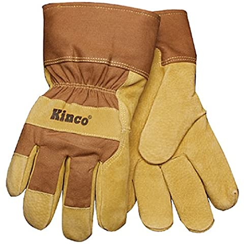 KINCO 1958-L Men's Lined Suede Pigskin Gloves, Heat Keep Thermal Lining, AquaNOT Waterproof Insert, Large,