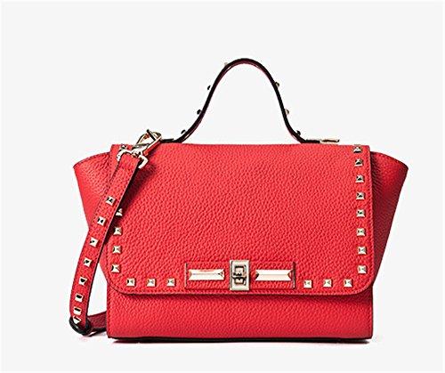 Xinmaoyuan Borse donna borsette in cuoio Bat Ali borsa tracolla maniglia rivetto borsa messenger,verde Rosso