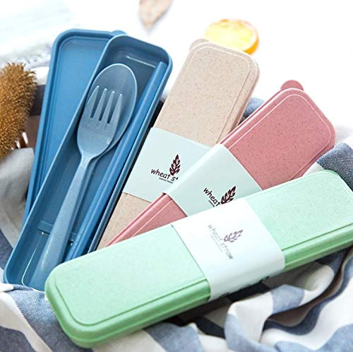 Material Tableware Camping Bag Picnic Juegos De Vajillas Lunch Box Lancheira 3pcs/Set Chopsticks Fork Spoon ()