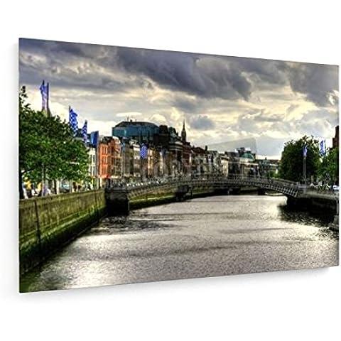 Ha'penny puente sobre el río Liffey en la ciudad de Dublín, Irlanda - 120x80 cm - weewado - Impresiones sobre lienzo - Muro de arte
