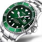 DMZZYGJR Orologio Meccanico Automatico Verde Trend Moda Uomo Casual Grande quadrante Luminoso Orologio Impermeabile Argento-Verde