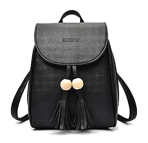 Fanova Women Trendy Bead Tassels PU Leather Backpack Casual Zipper Flap Satchels Student Travel Bags