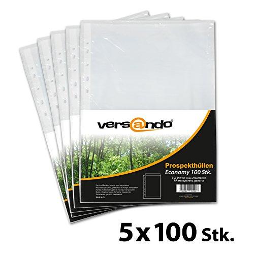 Versando - 500 uds. (5x100) fundas de plástico para DIN A4 fundas transparentes granuladas para A4