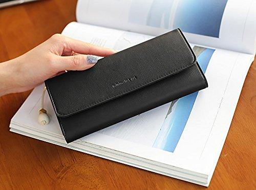 CLOTHES- Lady Wallet Sezione lunga delle due pieghe alla moda piccole nappe fresche Borsa grande borsa portafogli studenti ( Colore : Pink#1 ) Nero