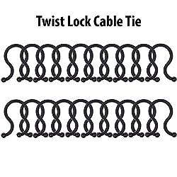 KM U Shape Plastic Twist Lock Ties for Bundling and Organizing Cables, Black