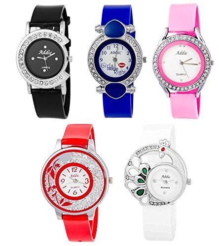 Addic Combo Of 5 Analogue Multicolor Dial Womens Watch-Cw809