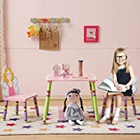 WODENY Kids Table and Chairs Sets Wood | Wooden Childrens Table and Chair Set | Childs Desk and Chair Sets Pink with Cartoon Fairies Paintings for Girls Toddlers (Pink)