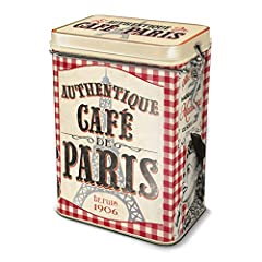 Idea Regalo - Natives 211151 caffè di Parigi Scatola a caffè Metallo Multicolore 13 x 8,5 x 18 cm