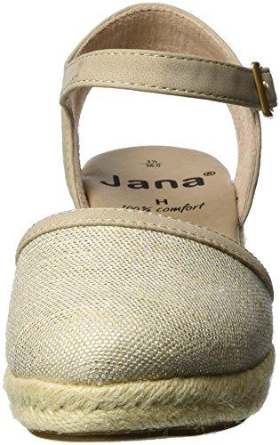 Jana 29501, Sandales  Bout ouvert femme Beige (Beige/silver 395)