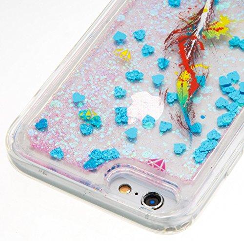 Per iPhone 6/6S 4.7 Pollici Custodia Cover,SKYXD Lusso Bling Brillantini Glitter Strass Coperture Protettiva Trasparente Silicone Morbida TPU Gel Colorata Creativo 3D Disegni Flusso Liquido Sabbia Cas Blu Piume