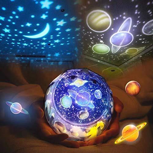 tor Lampe Kinder Baby LED Nachtlicht Schlummerleuchten Sterne Nachtlicht Projektor Drehbar mit 3 LEDs, 8 Licht Modus, 2 Energieversorgung, Geburtstag Weihnachten Geschenk ()