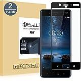 EasyULT Verre Trempé pour Nokia 8[2-Pièces], pour Nokia 8 Protection écran Protecteur d'écran Full Vitre Trempe Screen Protector(Couverture Complète)(Noir)