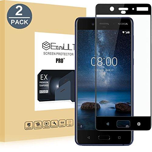 EasyULT Panzerglas Für Nokia 8[2 Stück], Volle Deckung Bildschirmschutzfolie Bildschirmschutz Folie Full Glas Panzerglasfolie Schutzfolie Für Nokia 8(Schwarz)