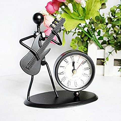 LLL-Artesanía hierro reloj modelo guitarra adornos adornos de metal