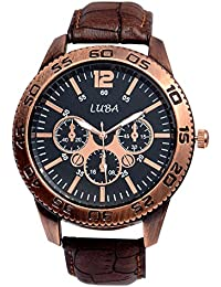 Luba Chronodummy Analog Watch For Men ( Black Dial Brown Strap Men's Wrist Watch )