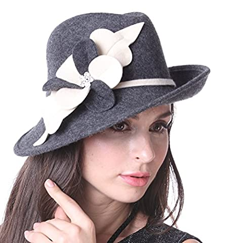 June's Young Women Wool Felt Hat Church Derby Wedding for Bride Ascot Race Party Hat Fedora Winter Hat Dress Hats