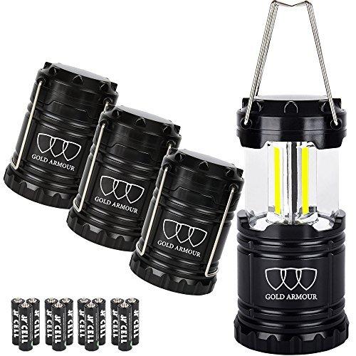 Or Armour Plus Lumineux Lanterne de Camping (Qui Émet 350/500 lumens.) Lot de 4 Lampes LED Lantern – équipement de Camping Gear pour randonnée urgences Ouragans pannes Excellent Cadeau Ensemble