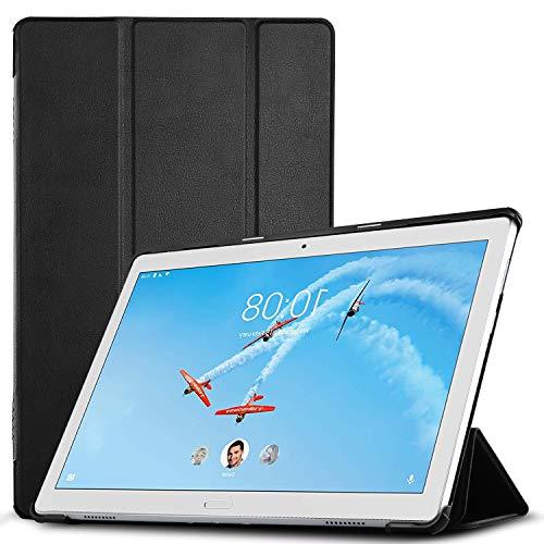 IVSO Hülle für Lenovo TAB P10, Ultra Schlank Slim zubehör Schutzhülle Hochwertiges PU Leder-mit Standfunktion Ideal Geeignet für Lenovo TAB P10 10 Zoll 2018 Tablet PC, Schwarz