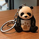 HLifuz Exuberante Lindo Oso Panda Animal Colgante Bolso de Mano Llavero Anillo Dibujos Llavero - H04