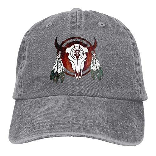 Hoswee Unisex Kappe/Baseballkappe, Native American Buffalo Skull Arrowhead Indian Cowboy Caps Dad Baseball Hats Gray -