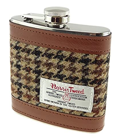 Harris Tweed 6oz Measurement Stainless Steel Hip Flask 4 Colours Available (COL 27)